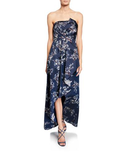 Striped Floral-Print Draped Strapless High-Low Jacquard Dress