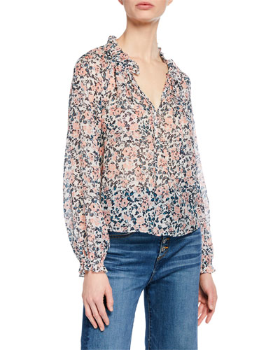Antonette Long-Sleeve Floral Silk Top