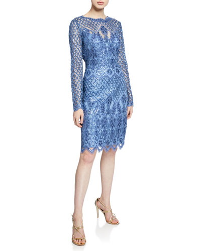Sequin Lace Long-Sleeve Cocktail Dress