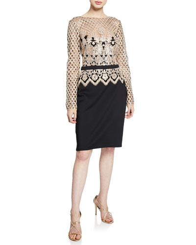 Sequin Lace Long-Sleeve Crepe Cocktail Dress