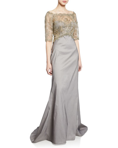 Off-the-Shoulder Elbow-Sleeve Taffeta Gown with Corded Lace Overlay