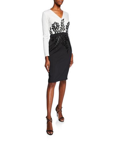 Sequin-Detail V-Neck Long-Sleeve Neoprene Cocktail Dress