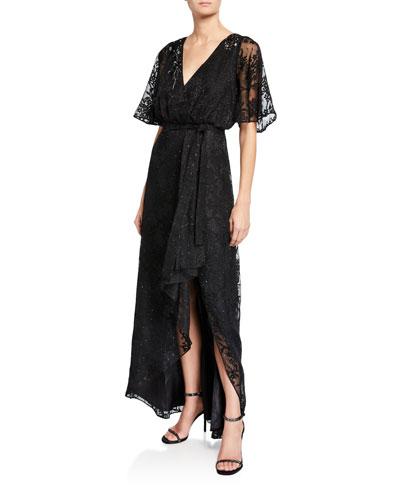 Sequin Lace Burnout Flutter-Sleeve High-Low Wrap Dress