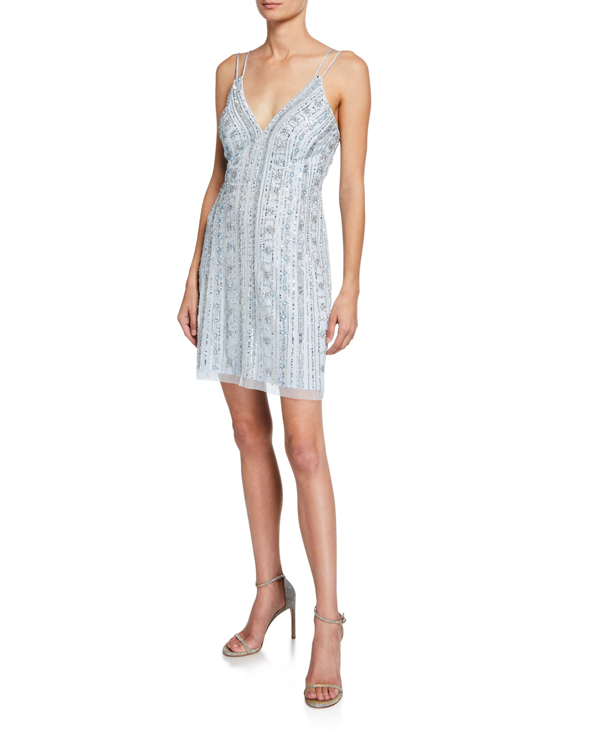 4a4ed5a9 Beaded One-Shoulder High-Low Midi Dress. Aidan Mattox beaded cocktail ...