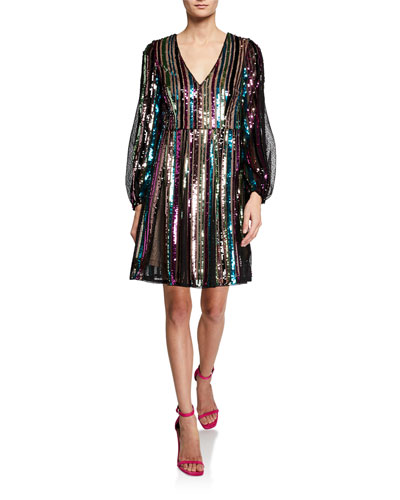 Sequin Striped Long-Sleeve Dress with Textured Lace Insets