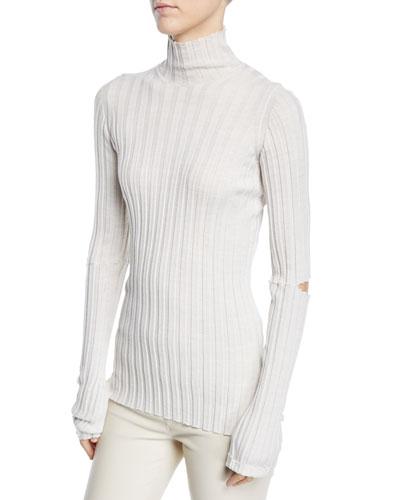 Slash Elbows Rib Turtleneck Sweater