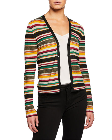 Veronica Beard Keke Striped Ribbed Cardigan