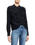 FRAME Ruffle Cascade Long-Sleeve Silk Button-Up Top