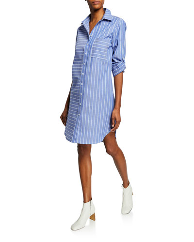 Parker Mixed Stripe Long-Sleeve Shirtdress