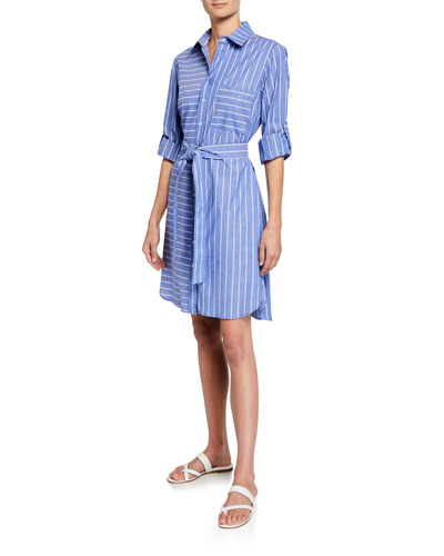 Petite Parker Mixed Stripe Long-Sleeve Shirtdress