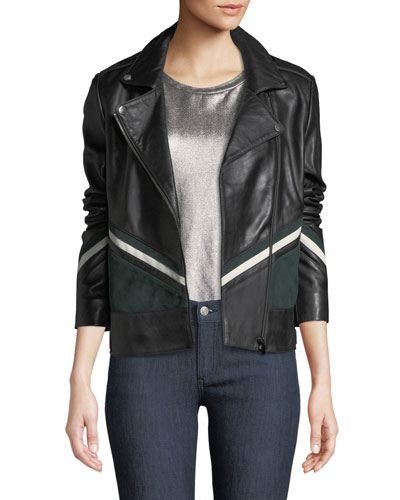 Striped Colorblock Leather Moto Jacket