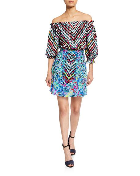 Saloni Grace Off-the-Shoulder Floral-Print Silk Mini Dress