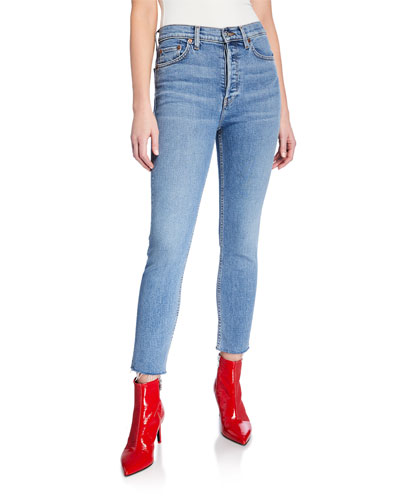 High-Rise Ankle Crop Skinny Jeans w/ Raw Hem