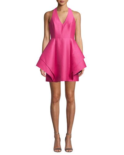Halter-Neck Dramatic Flounce Skirt Mini Dress