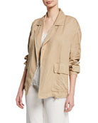 Eileen Fisher Notched-Collar Open-front Woven Jacket and Matching