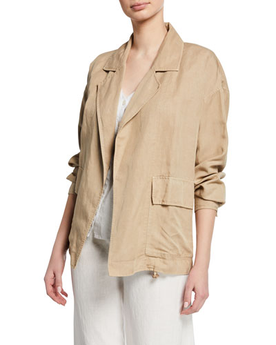 Notched-Collar Open-front Woven Jacket