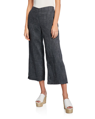 Linen Pinstripe Wide-Leg Cropped Pants