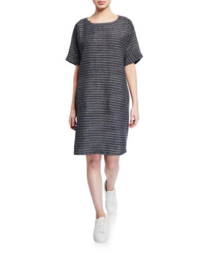 b54a887a80 Quick Look. Eileen Fisher · Pinstripe Delave Linen Short-Sleeve Tunic Dress