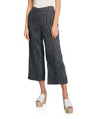 Eileen Fisher Petite Linen Pinstripe Wide-Leg Cropped Pants