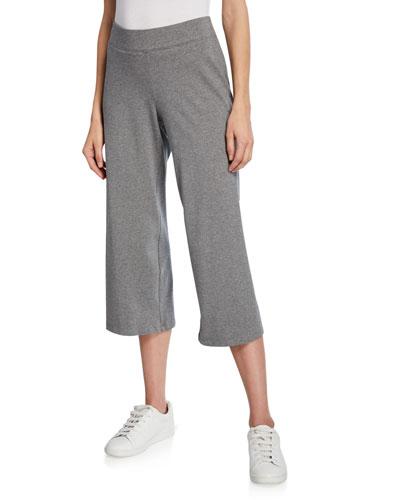 Petite Heathered Stretch-Cotton Jersey Wide-Leg Crop Pants