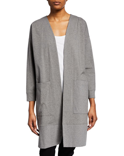 Plus Size Open-Front Bracelet-Sleeve Heathered Jersey Jacket
