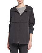 Eileen Fisher Petite Sandwash Zip-Front Hooded Jacket