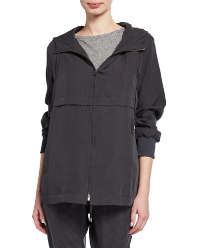 Petite Sandwash Zip-Front Hooded Jacket