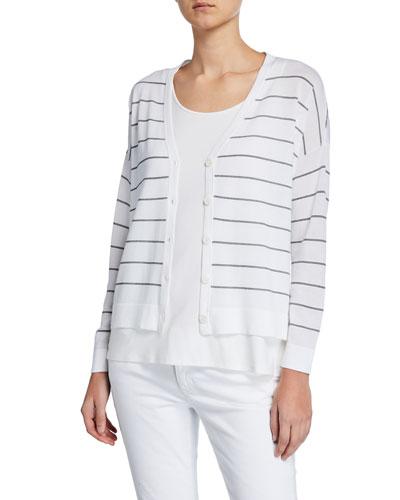 Striped V-Neck Button-Front Boxy Cardigan