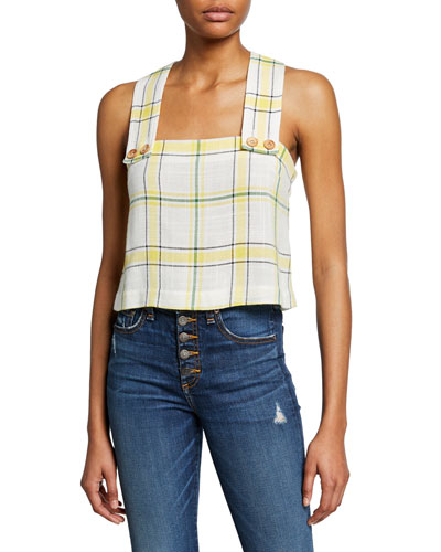 Gideon Plaid Cross-Back Crop Top