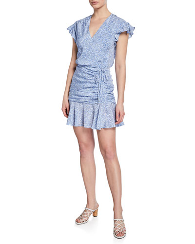 Marla Printed Silk Shirred Short Dress