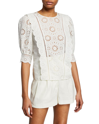 Gale Floral Eyelet 3/4-Sleeve Blouse