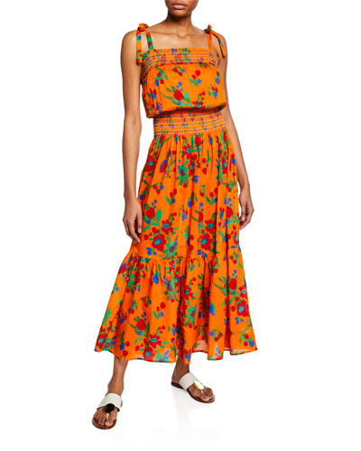 aa5e325d58d4f Quick Look. Tory Burch · Floral-Print Smocked Cotton Maxi Dress