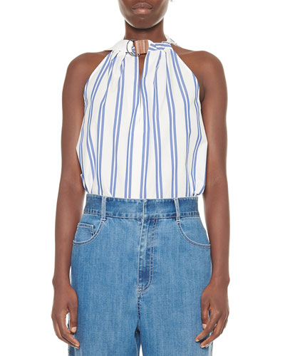 Vivian Striped Tie-Neck Sleeveless Top