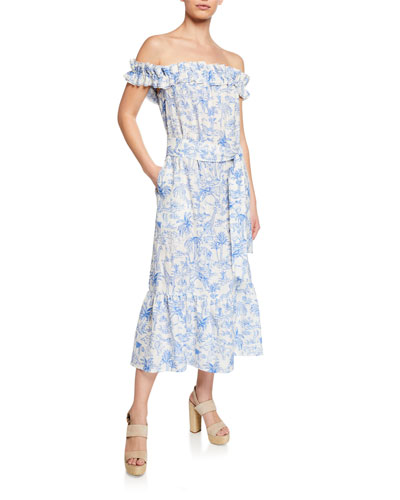 fbdf2c423bae Quick Look. Tory Burch · Printed Off-the-Shoulder Ruffle Midi Dress