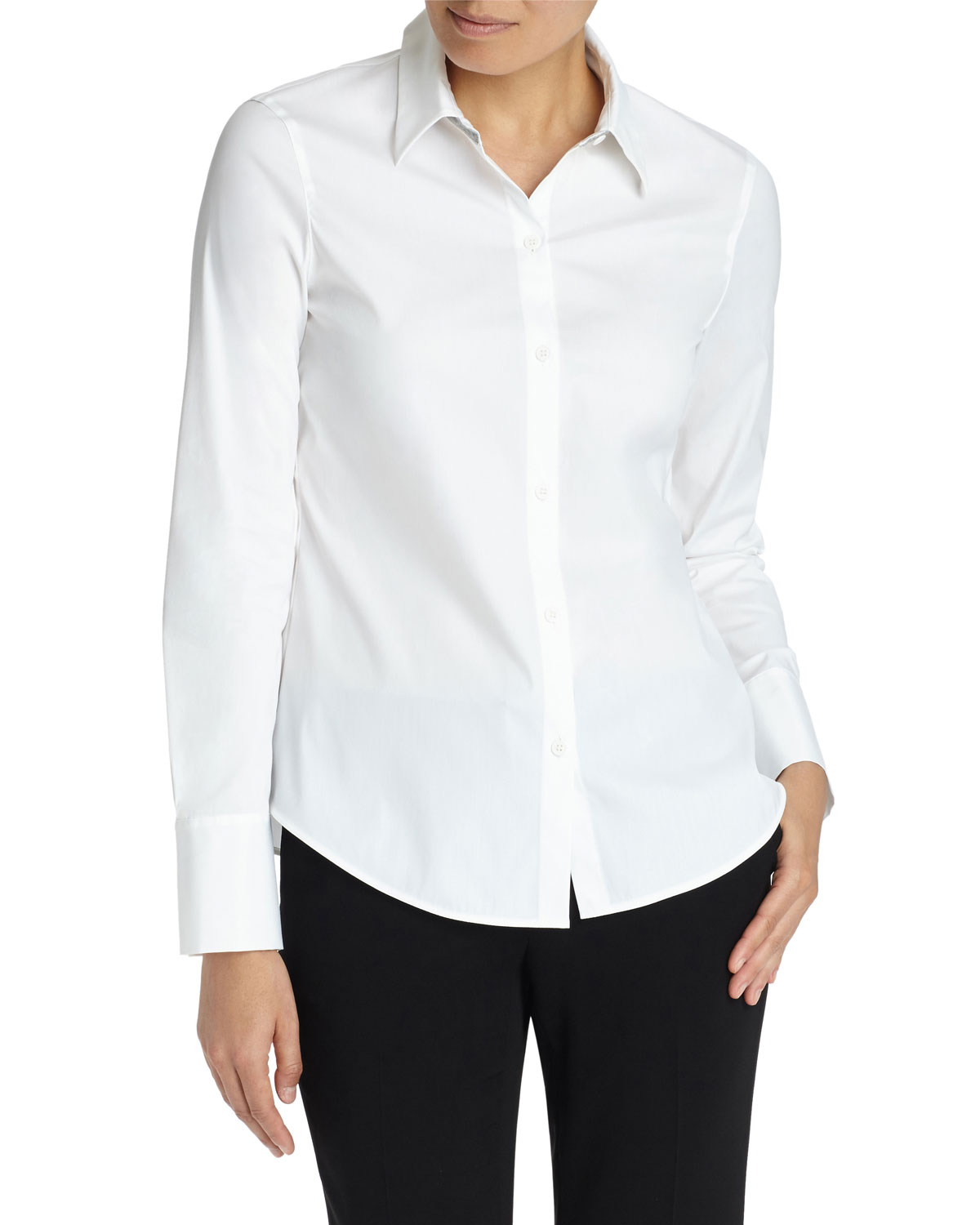 Linley Button-Down Blouse With Chain Trim in White
