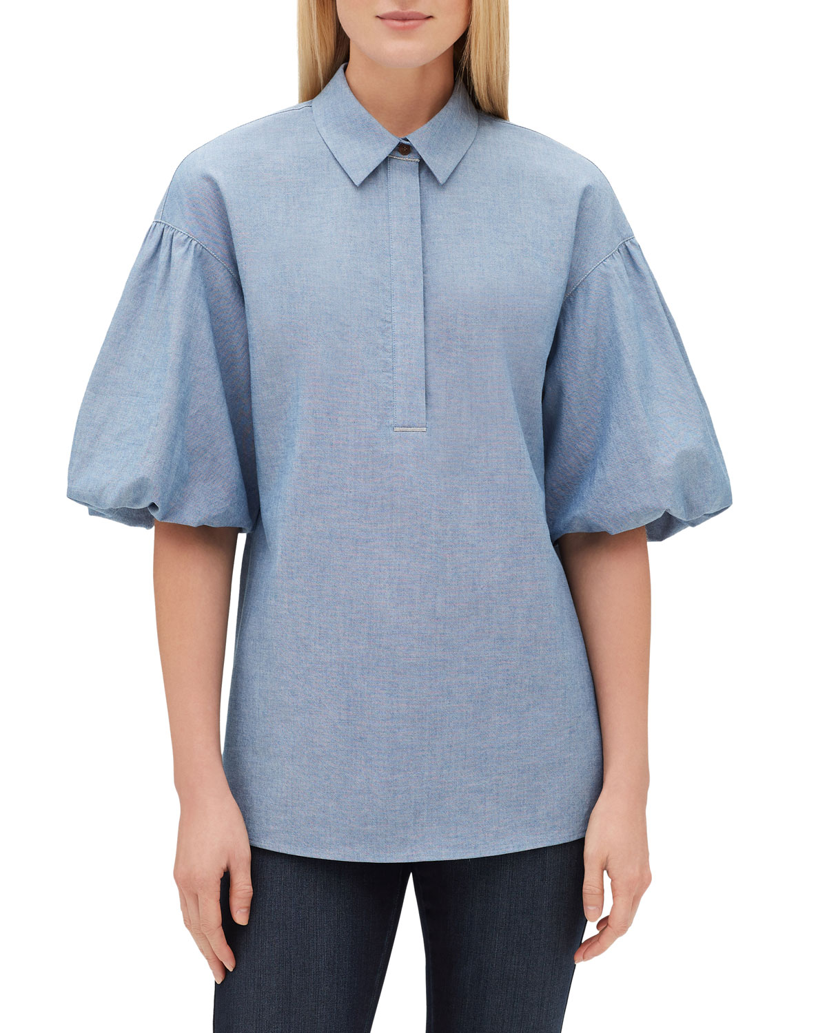 Pia Short Puff-Sleeve Blouse With Chain Trim in Blue