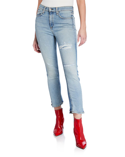 Road Distressed Crop Straight-Leg Jeans