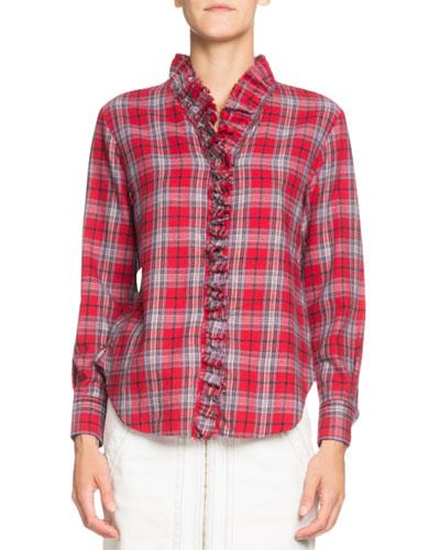 Dawendy Ruffle Plaid Long-Sleeve Shirt