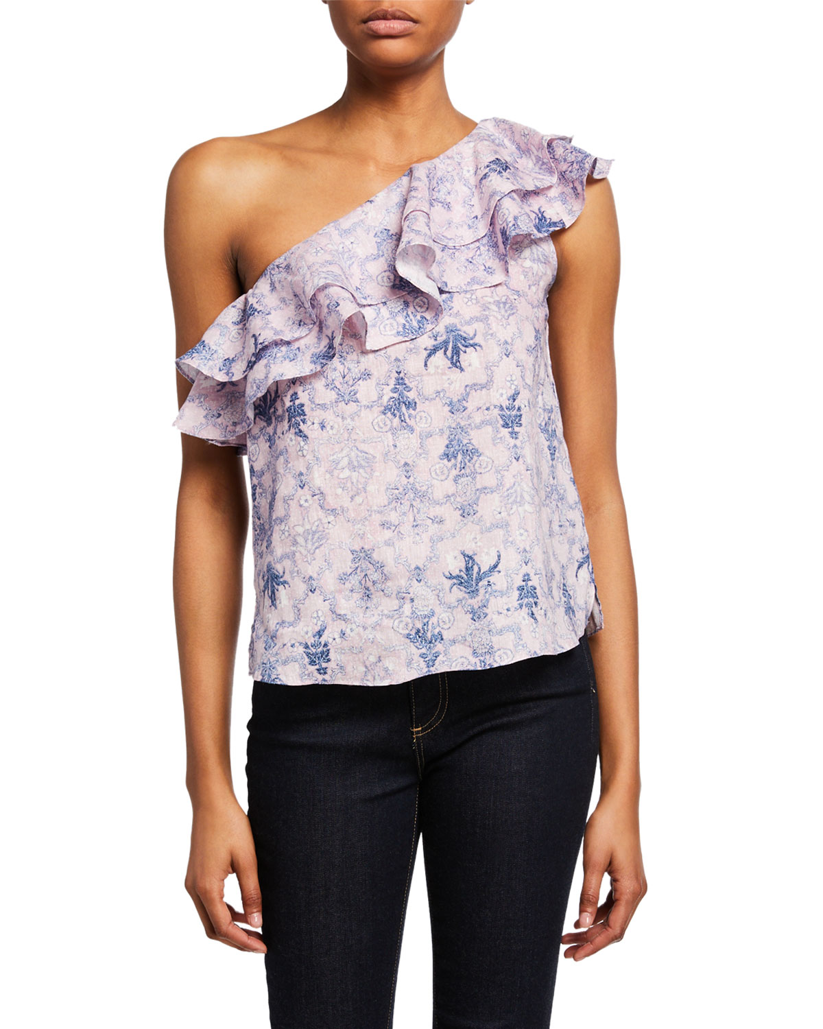 Etoile Isabel Marant Tops THOMY ONE-SHOULDER PATTERNED RUFFLE TOP
