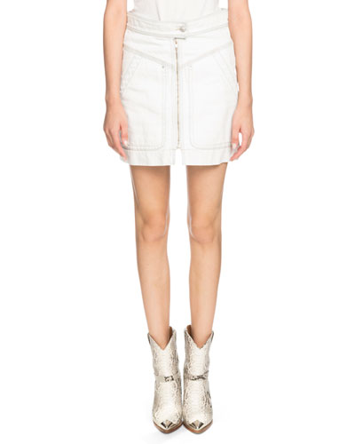 Ioline Zip-Front Denim Short Skirt