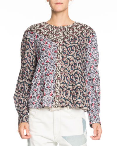 Loris Mixed-Print Long-Sleeve Cotton Blouse