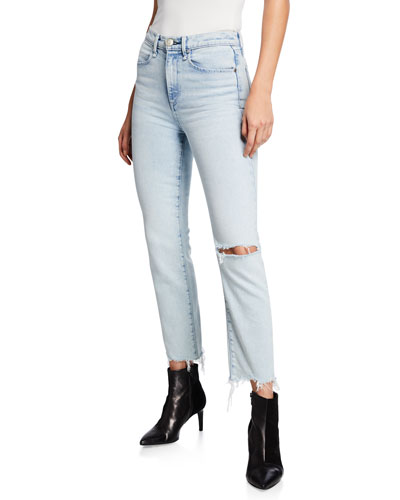 Mid-Rise Ankle Cigarette Jeans w/ Shredded Hem