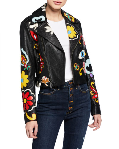 Cody Applique Leather Cropped Moto Jacket
