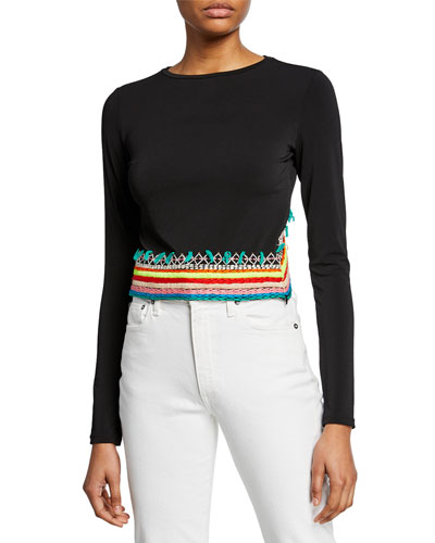 c04d9c8e479cd Quick Look. Alice + Olivia · Delaina Embroidered Long-Sleeve Crop Top