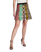 Alice + Olivia Bunnie Mixed-Print Knit Mini Skirt