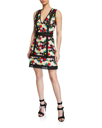 Zula Floral-Embroidered V-Neck Sleeveless Party Dress