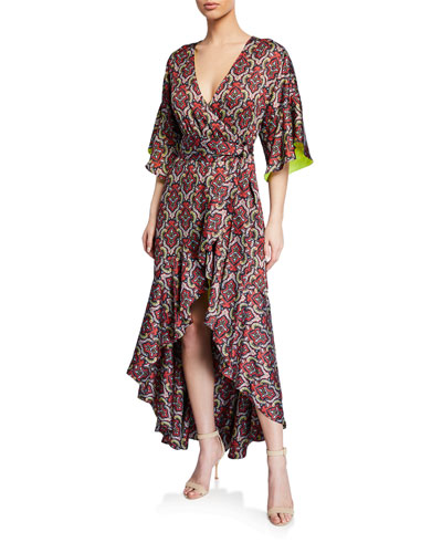 Dani Medallion-Print Ruffled High-Low Kimono Wrap Dress