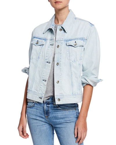 Oversized Button-Front Denim Jacket