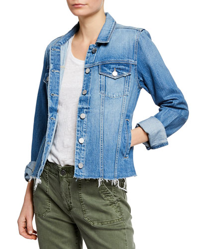 Rowan Button-Front Denim Jacket w/ Raw Hem