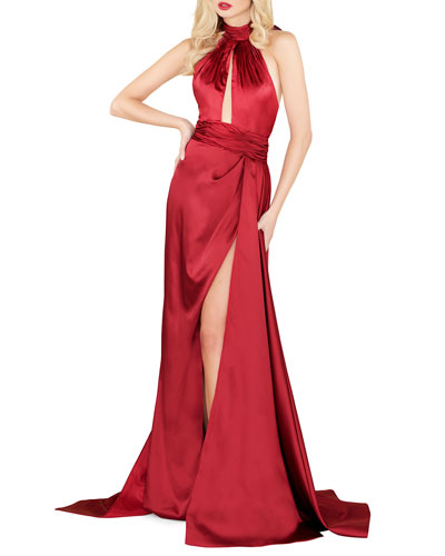Quick Look. Mac Duggal · Satin Halter Gown with Keyhole   High Slit d44b87709